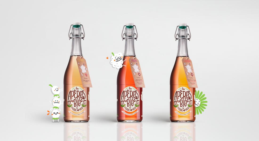 Les Apéros Bio I identité visuelle et packaging sérigraphié